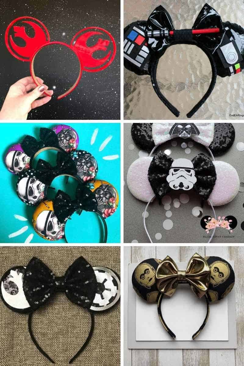 Collage image of Star Wars Mickey ears available on etsy