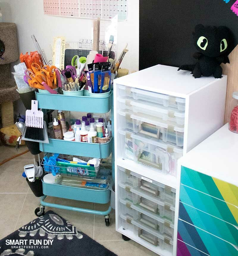IKEA Raskog cart and ArtBin cube with ArtBin Super Satchels inside for craft room storage