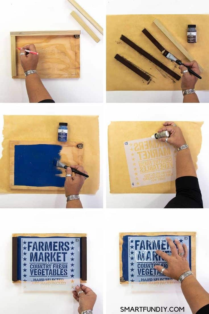 collage of steps to make farmhouse wood sign