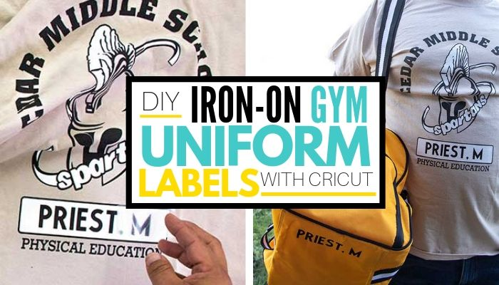 DIY iron on gym uniform labels with cricut graphic with photo collage