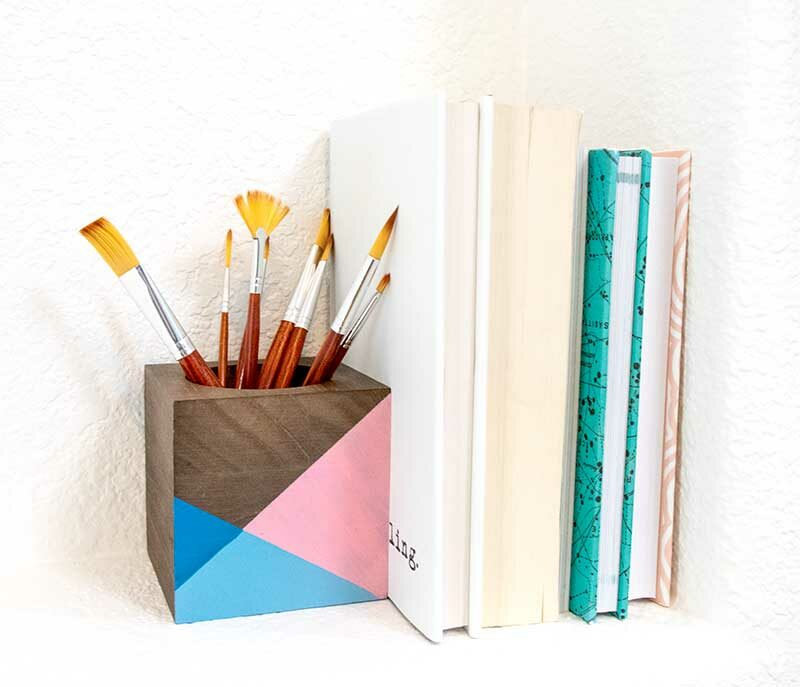 colorblock wood block book end