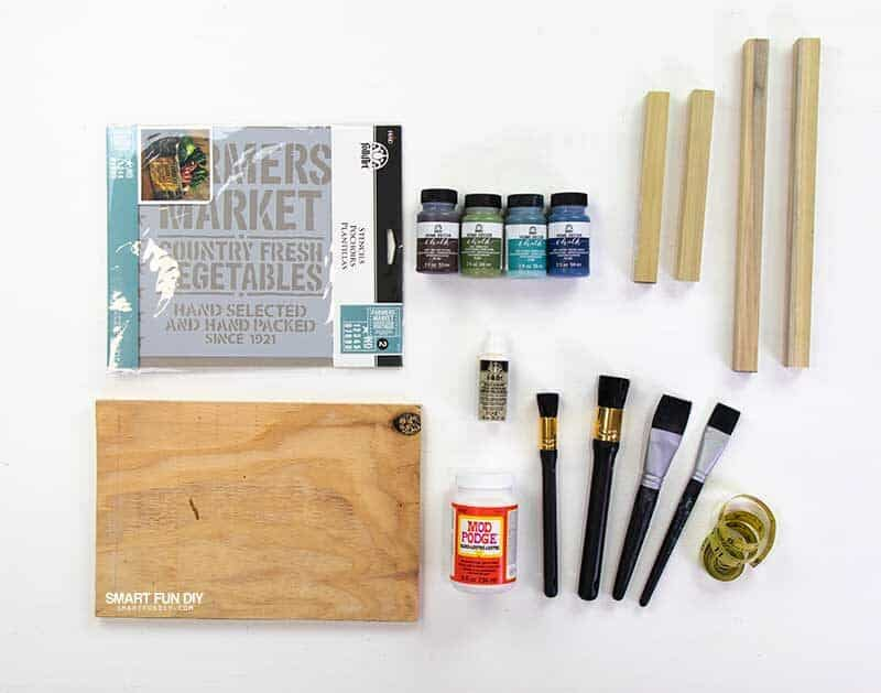 supplies to make painted wood sign with stencils