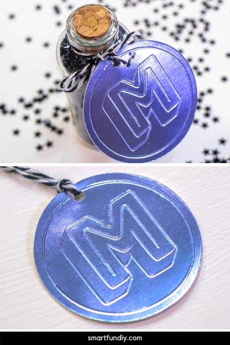M monogram circle tag made with Cricut Fine Debossing Tip