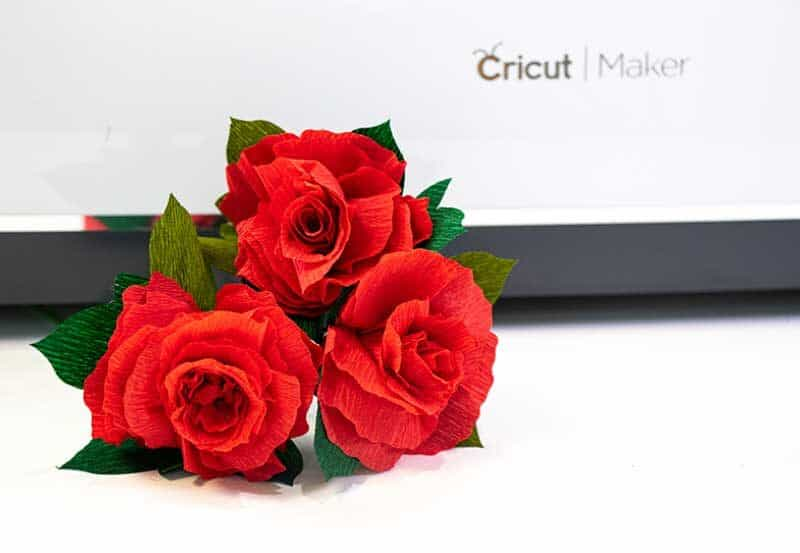 3 red crepe paper flowers made with Cricut Wavy Blade in front of Cricut maker machine