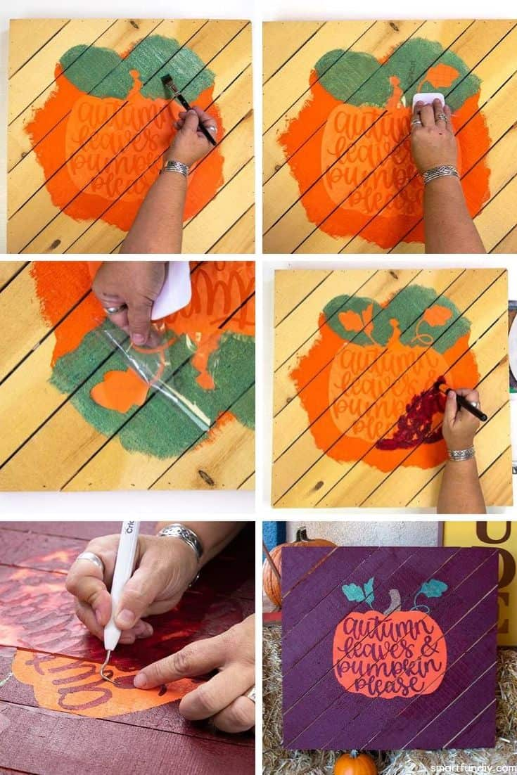 collage of painting pumpkin sign with mask steps