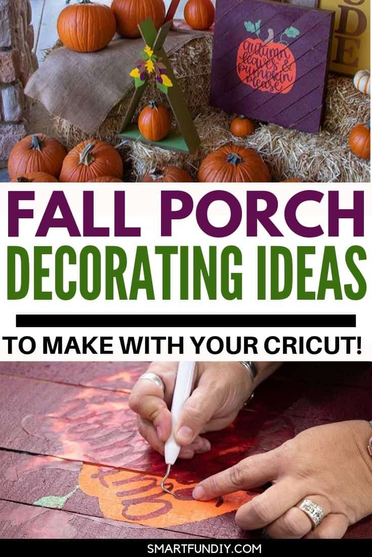 fall porch decorating ideas collage image with text