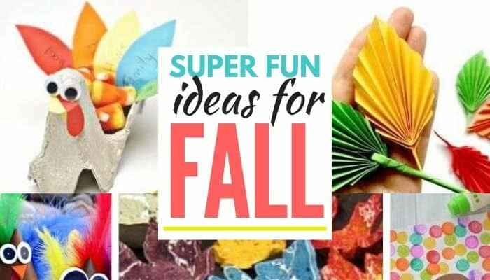 collage image of fun fall activities for kids to make with text overlay title