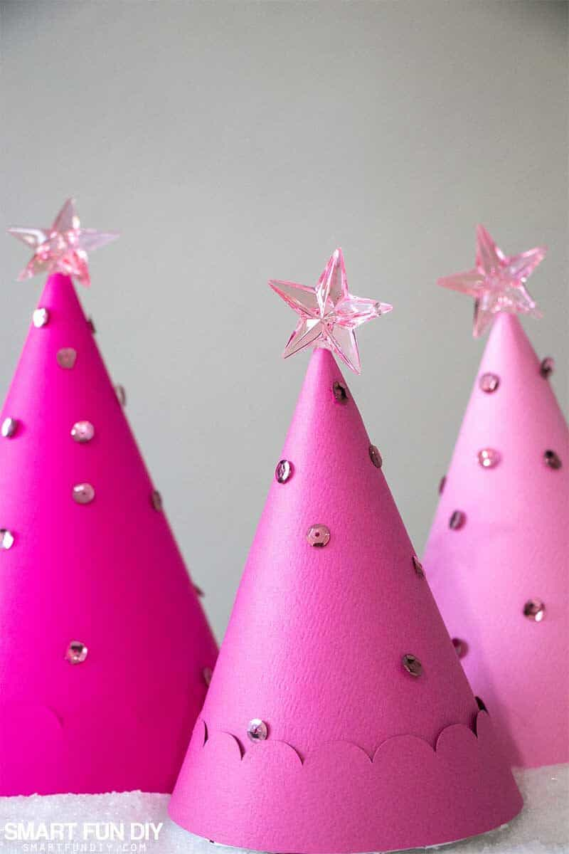 Pink paper cone Christmas Trees decorated with sequins