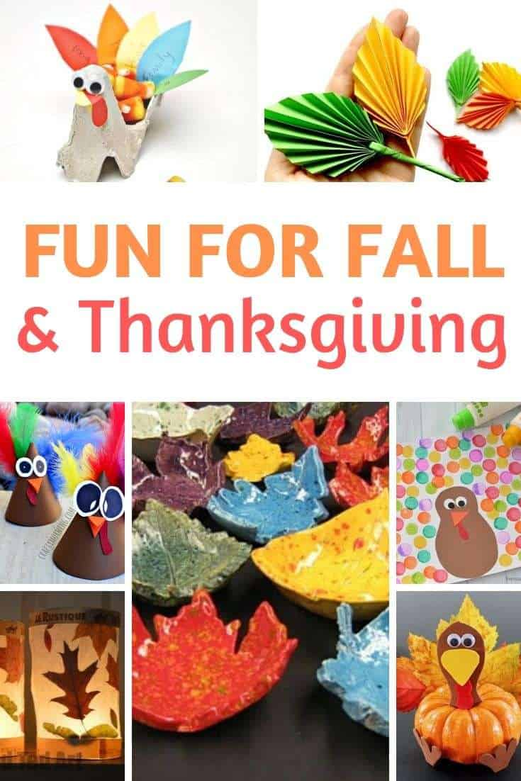 Collage image of fun for fall and Thanksgiving kids crafts