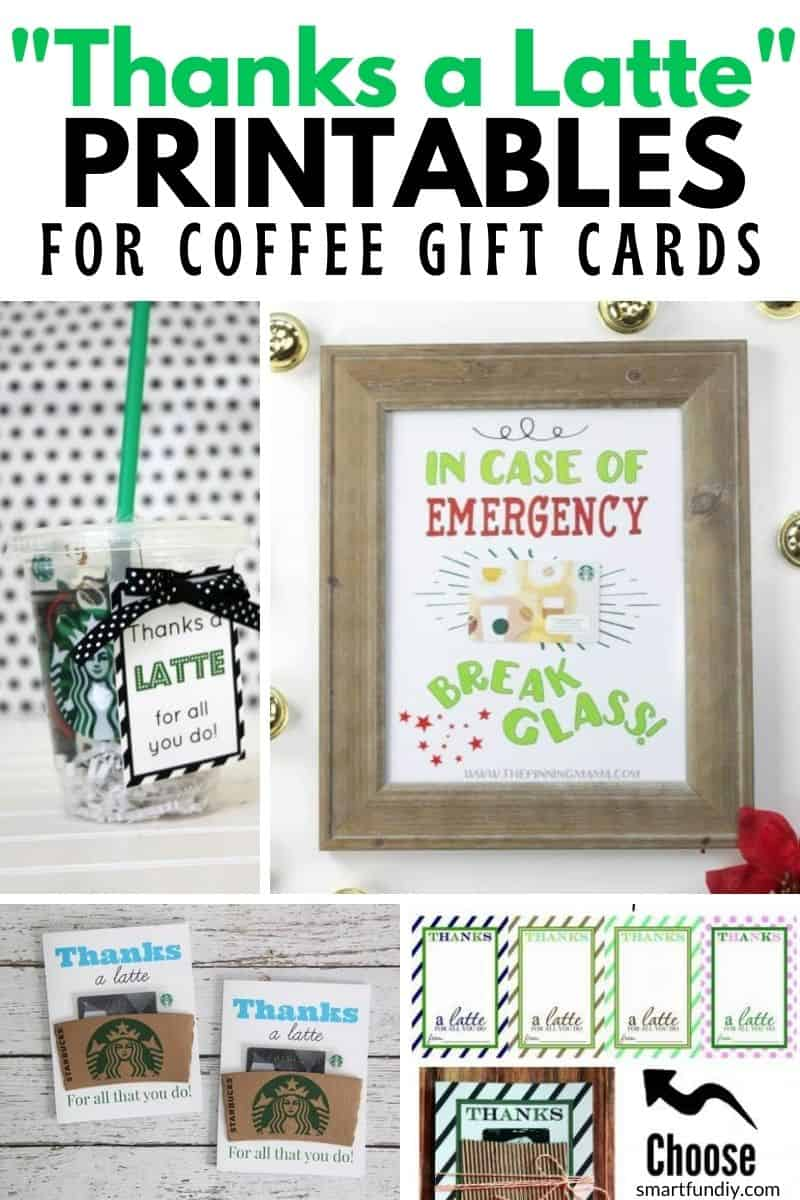 Collage image of 4 coffee gift card printables