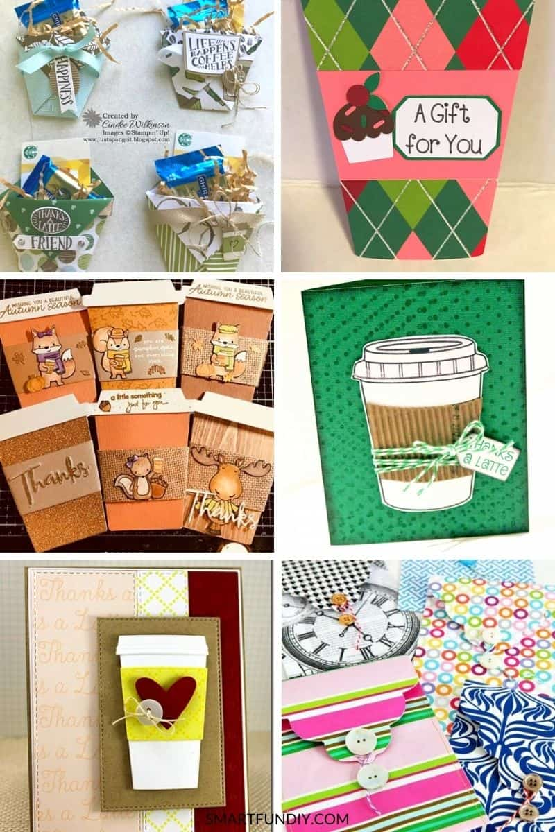Collage of 6 papercrafts for giving coffee gift crads