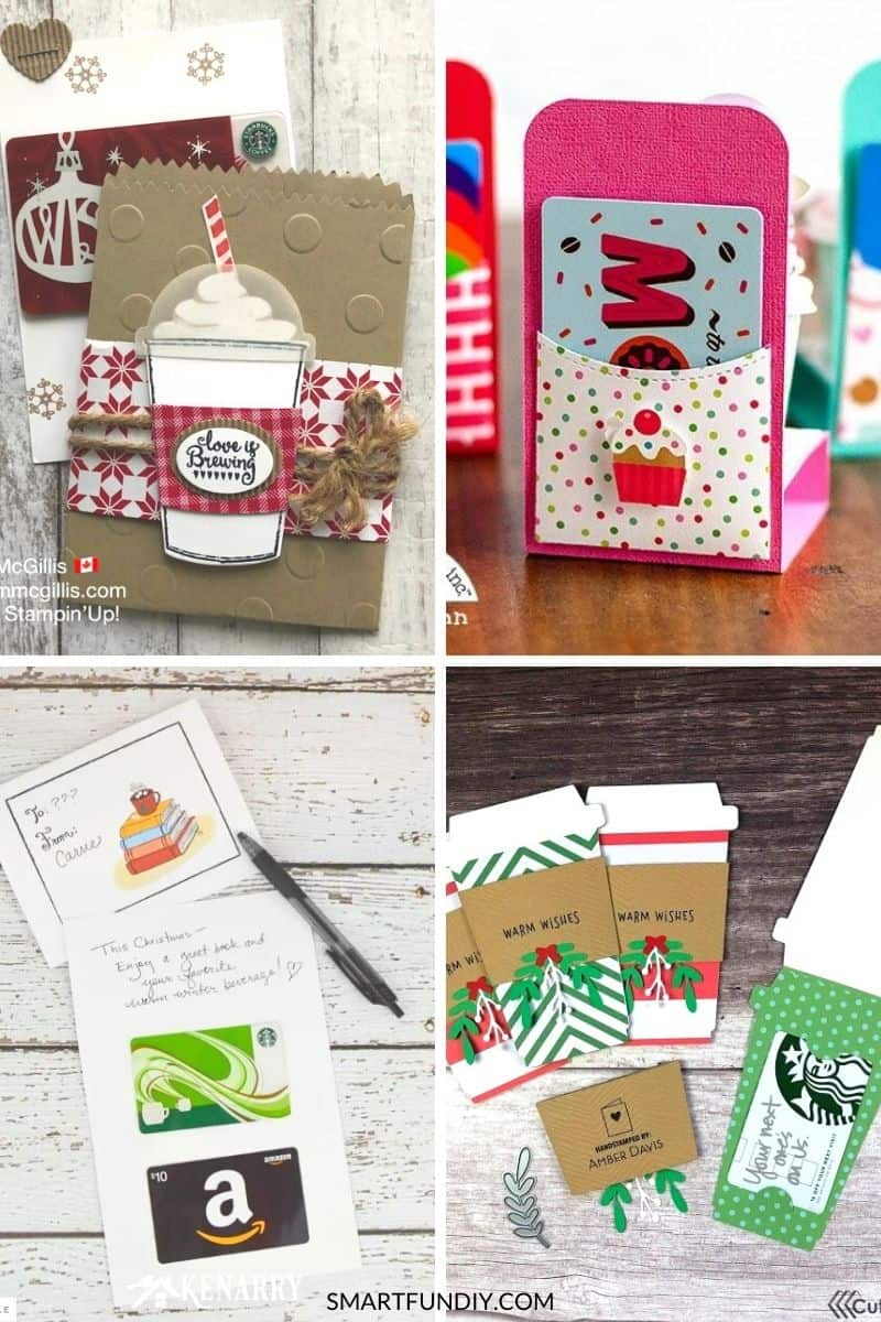 collage of 4+ creative ways to give coffee gift cards for Christmas
