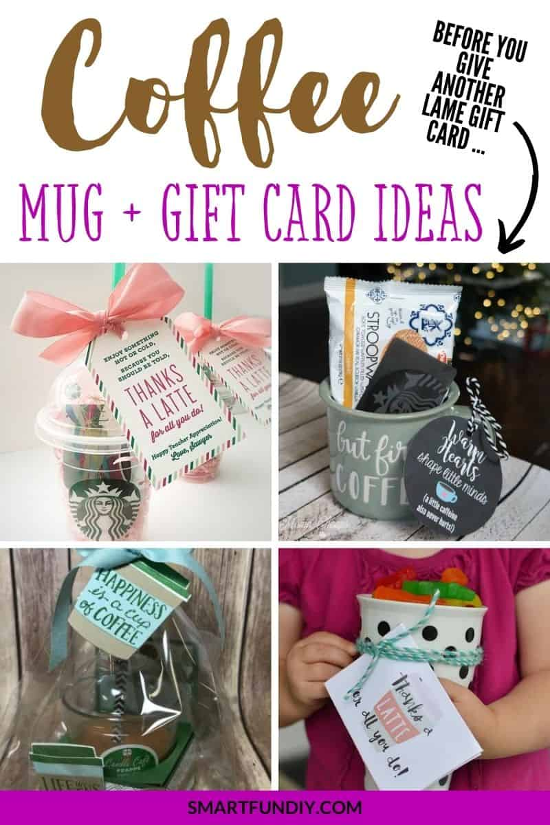 collage of 4 coffee mug and gift card ideas