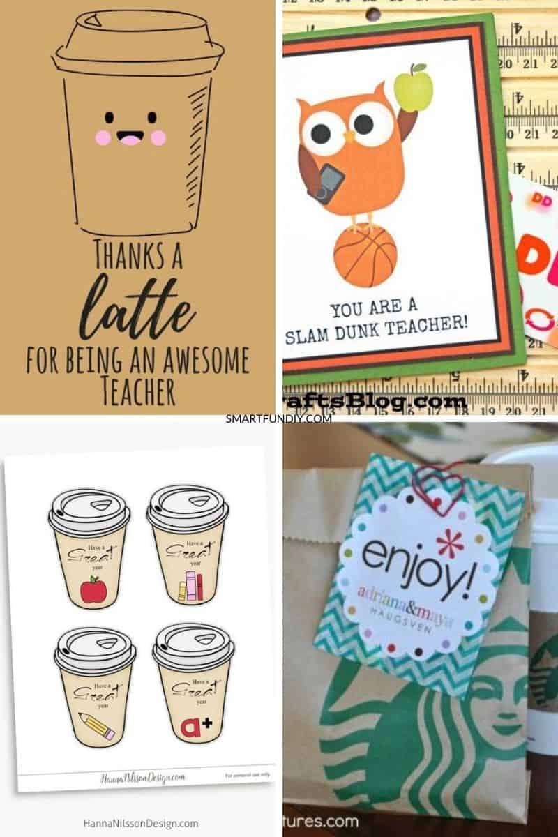 Collage of 4 printables for teacher thank you gifts with coffee gift cards