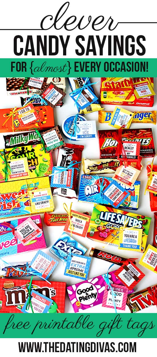 Image of candy with free printables tied to each by The Dating Divas