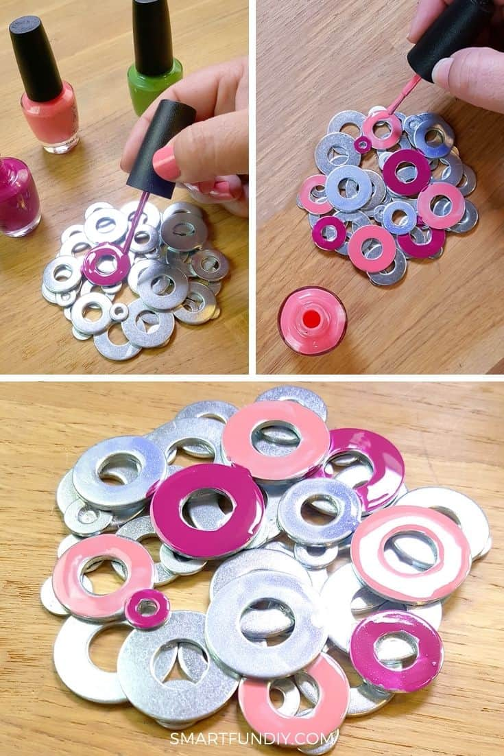 Collage of metal washer coasters being painted with nail polish