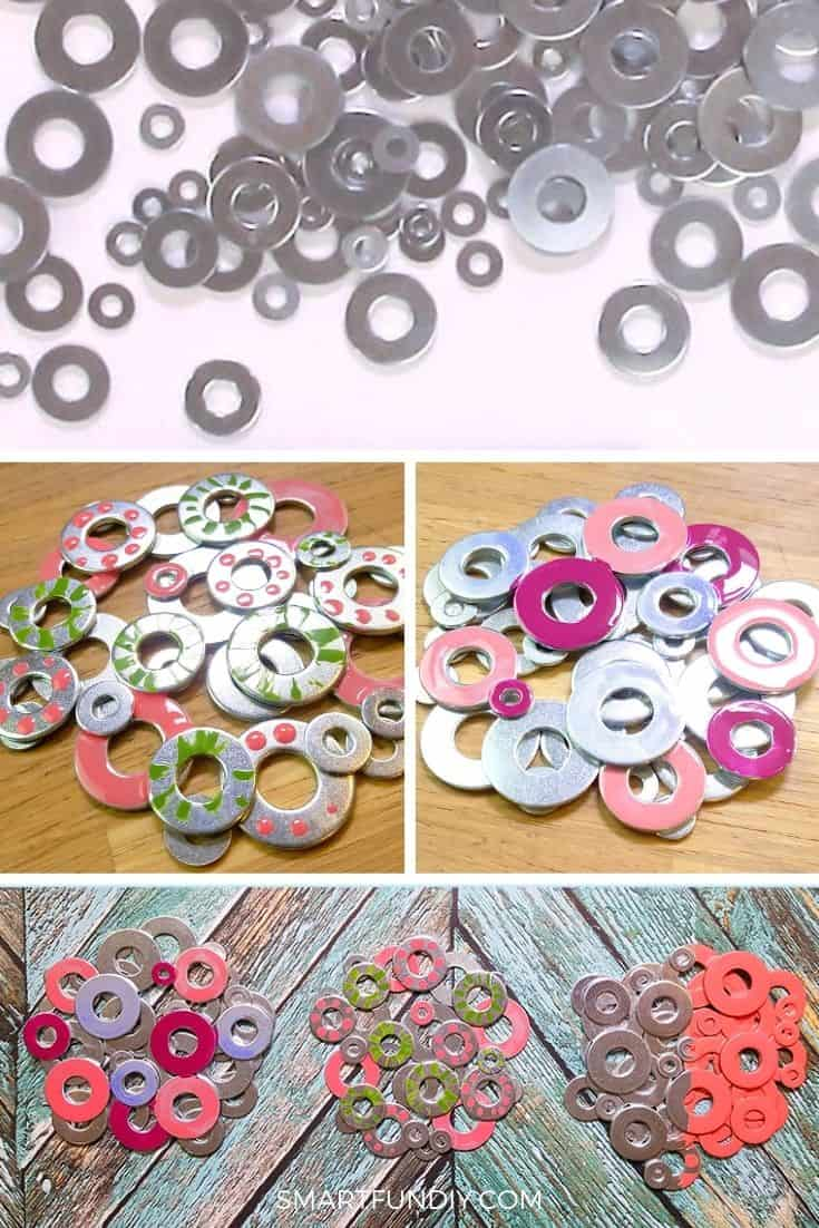 Collage image of metal washer coasters painted with different designs and colors using nail polish