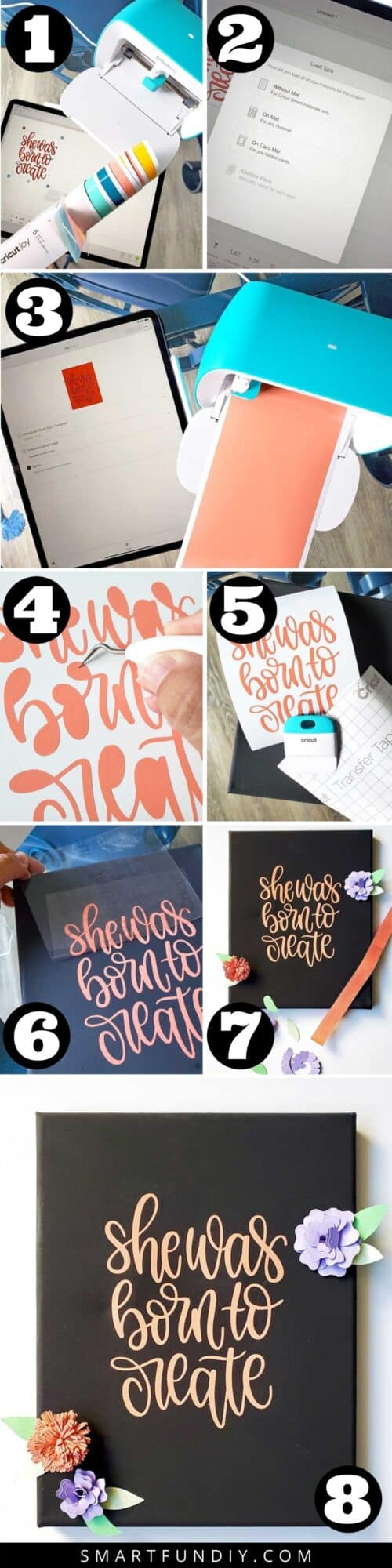 Step by step photos of how to cut vinyl and make canvas quite art with Cricut Joy machine