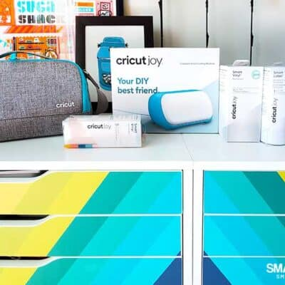 Cricut Joy and accessories on IKEA Alex drawer units with Cricut Joy bag