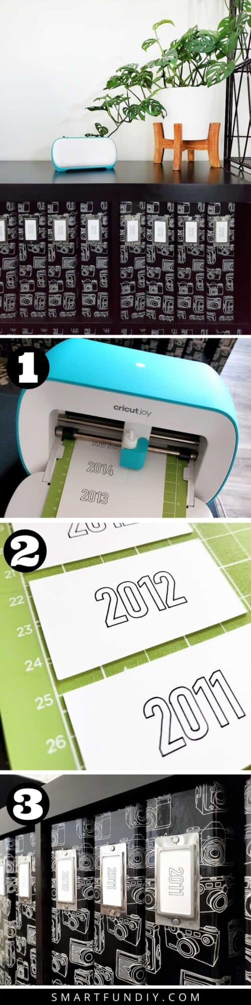 4 step by step photos showing how to make paper labels for scrapbooks using Cricut Joy machine