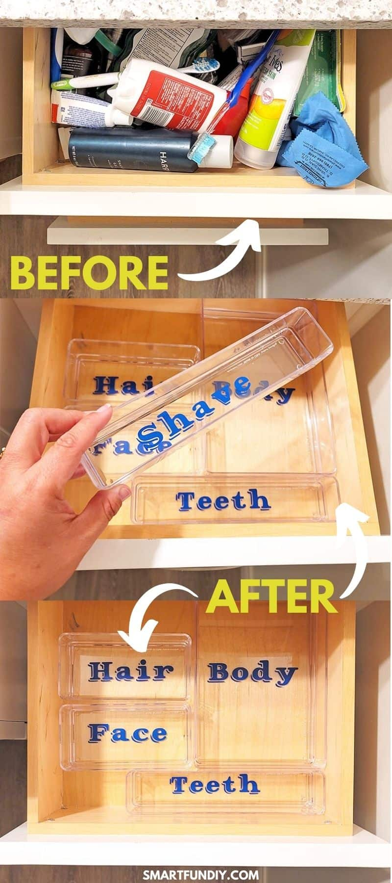 """picture of messy bathroom drawer with arrow and word """"before"""" followed by 2 photos of the empty drawer with clear drawer organizers inside labeled with blue vinyl words and overlay of """"after"""" with 2 arrows"""