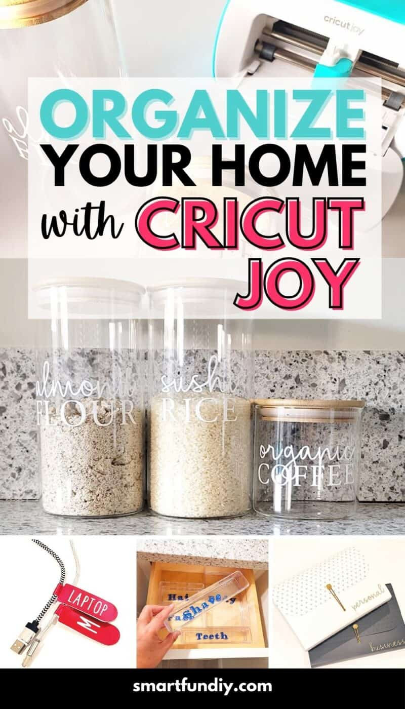 Collage of home organizing ideas made with Cricut Joy machine