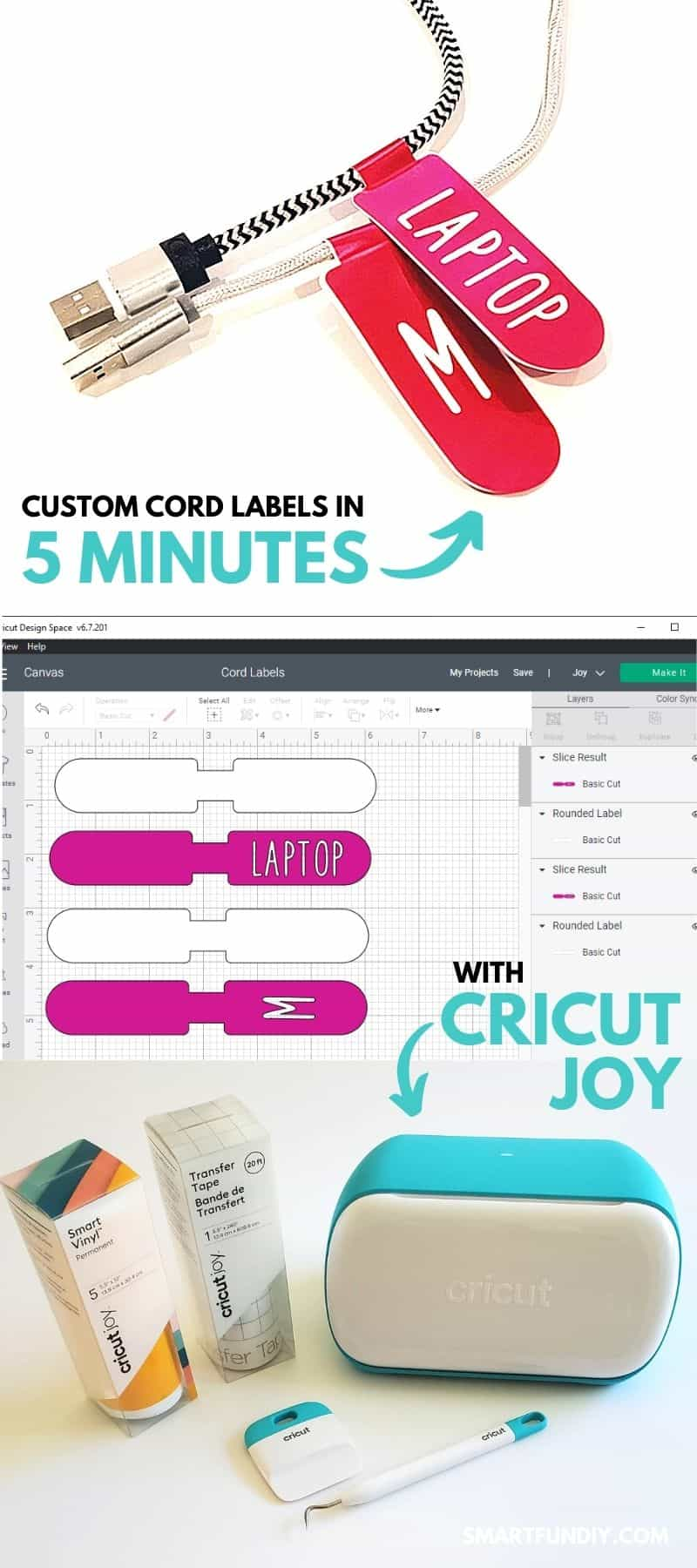 Collage showing cords with custom vinyl tags in pink vinyl, screenshot of the tags in Cricut Design Space, and Cricut Joy machine with vinyl, vinyl transfer tape, and vinyl tools