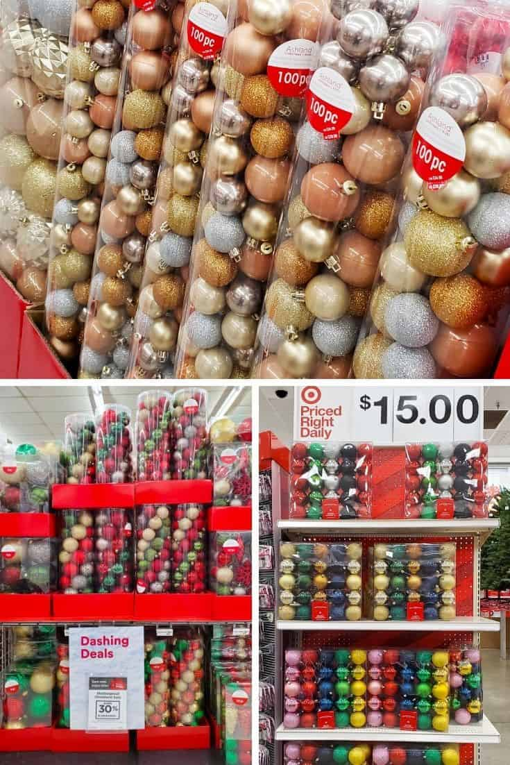 Collage of 3 images showing plastic colorful Christmas ball ornaments in store displays