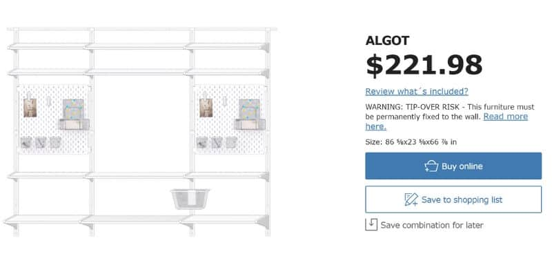 screenshot of ALGOT system created using IKEA's online wall planner