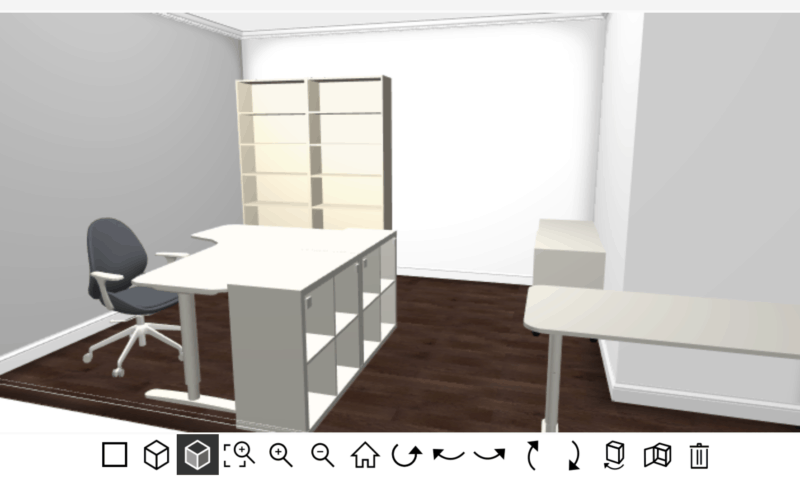 screenshot of craft room created using IKEA's online 3d room planner