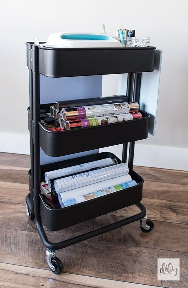IKEA raskog cart filled with Cricut craft supplies