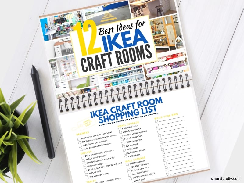 free download guide with ikea shopping lists for every room in this blog post - mock up on a notebook with a plant and pen on table