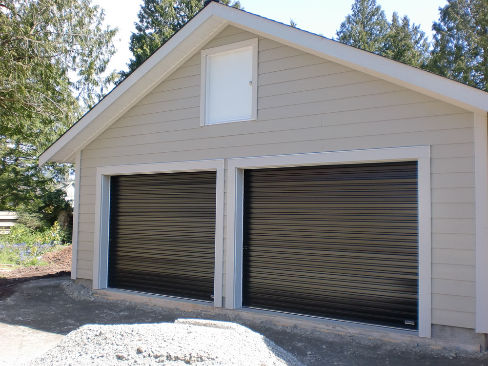black double garage doors