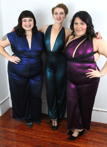 Three women wearing SmartGlamour convertible jumpsuit