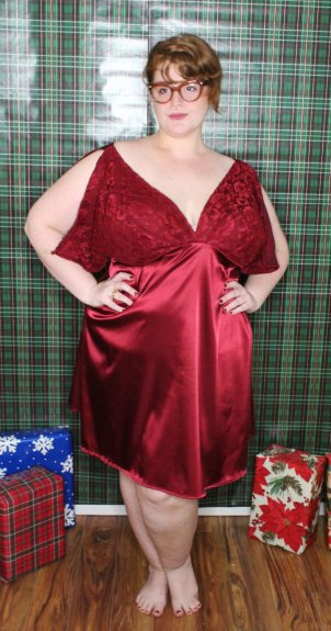 Red satin and lace night gown in plus size