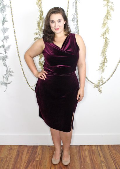Custom made velvet cowl wiggle dress