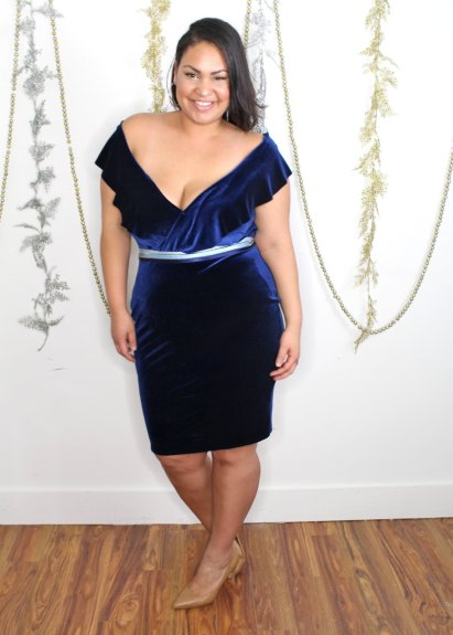 custom made off the shoulder velvet dress with belt
