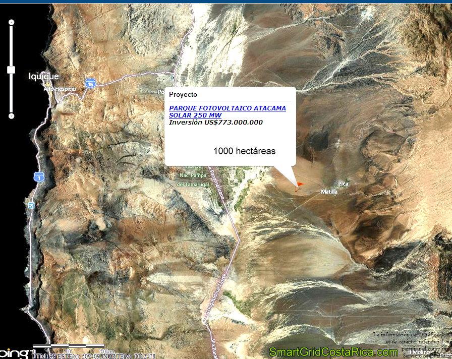 Desierto Atacama Chile Ubicación Planta Parque Solar Paneles Fotovoltaicos Smart Grid mapa 2