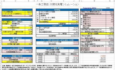 太陽光全量買い取り制度シミュレーションExcelシートバージョンアップ\(^o^)/