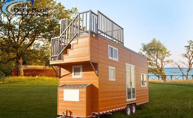 Steel Frame Prefabricated Tiny House On Wheels Pre Built