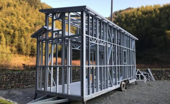 Light Steel Frame Prefab Tiny House On Wheels Aisi S100 As