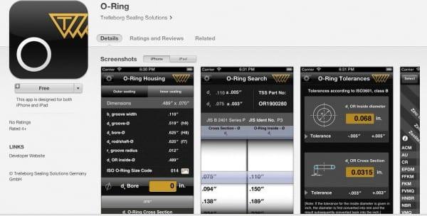 Trelleborg O ring iphone app Oct 2013