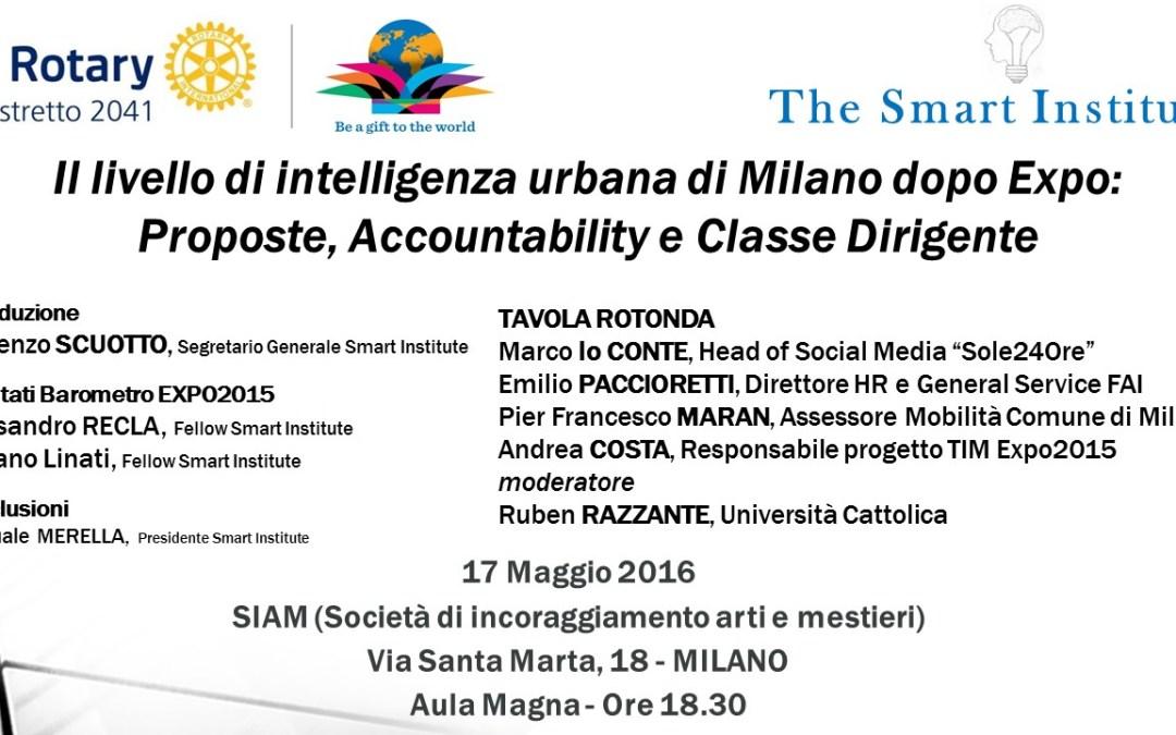 Il livello di intelligenza urbana di Milano dopo Expo: Proposte, Accountability e Classe Dirigente (17 maggio 2016)