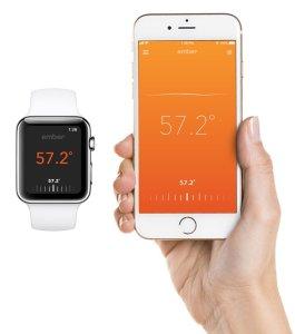 Informasjon fra Ember-koppen til Apple Watch og iPhone.