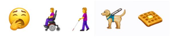 Et trøtt ansikt, en kvinne i rullestol, en kvinne med mobilitetsstokk, en førerhund og en vaffel.