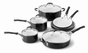 10 Piece Medium Ceramic Nonstick Cookware Set in Black by Calphalon Image
