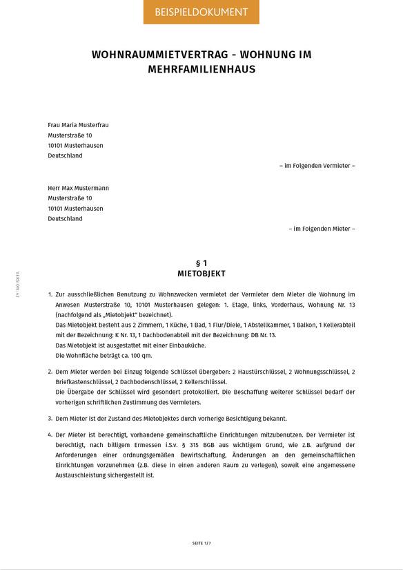 Mietvertrag fr eine Wohnung erstellen  Smartlaw