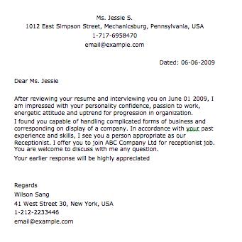 Sample Receptionist Letter Smart Letters