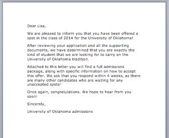 Sample Admission Letter Smart Letters