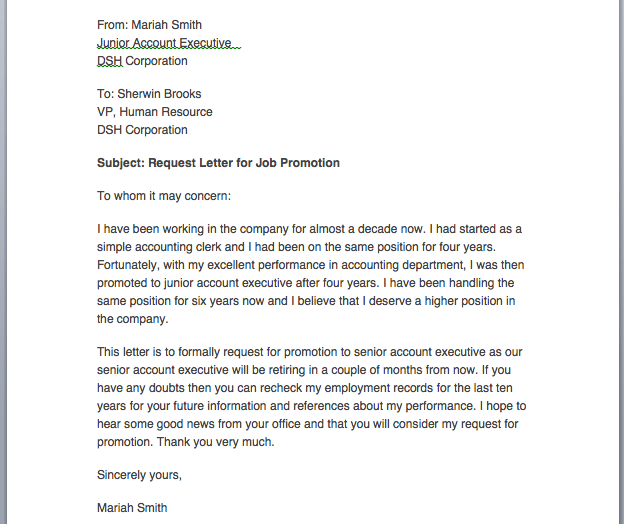 Request letter to manager for promotion for Applying for a promotion cover letter